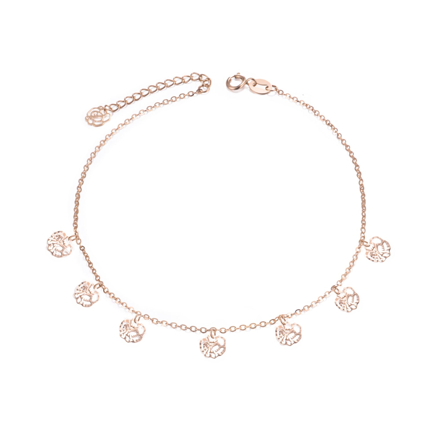 18K Gold European And American Fashion Fan Rose Anklet