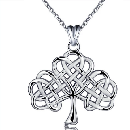 Celtic knot clover tree of life S925 sterling silver pendant vintage necklace accessories jewelry