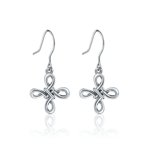 Infinity Eternal knot earrings S925 Sterling silver earrings European and American fashion wild earrings