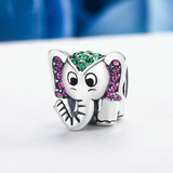 925 Sterling Silver Elephant Sparkling CZ Animal Beads Charms fit Women Bracelet Jewelry SCC200