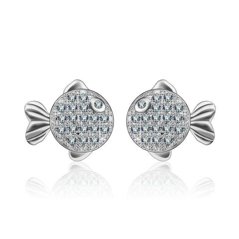 Sweet Kissing Fish Zircon Earrings Ornament S925 Sterling Silver Stud Earrings
