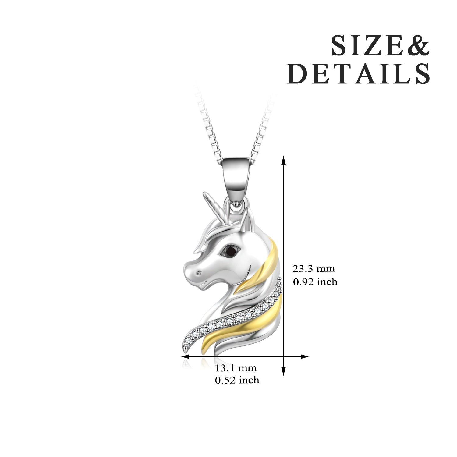 Unicorn Double Color Necklace Animal Silver 18 Inch Chain Necklace