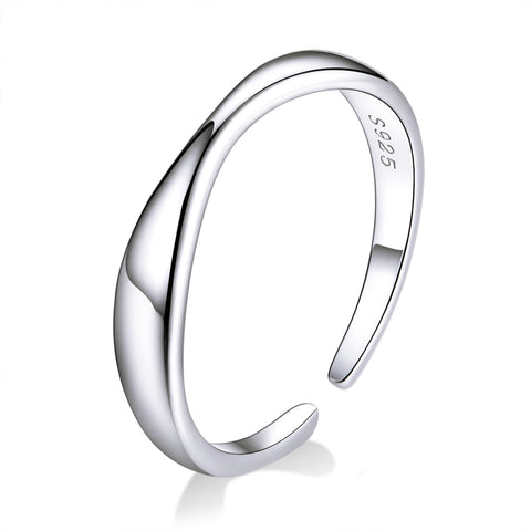 Geometric Irregular Wavy Silver Ring