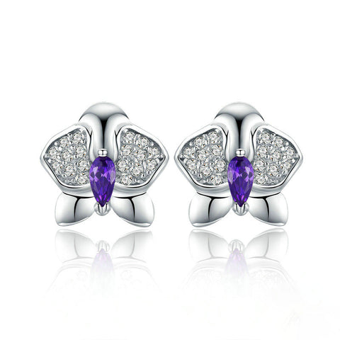 Orchid Flower Clear CZ Zircon Stud Earrings