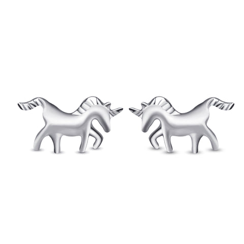 Animal Jewelry Horse Shape Stud Earring 925 Sterling Silver
