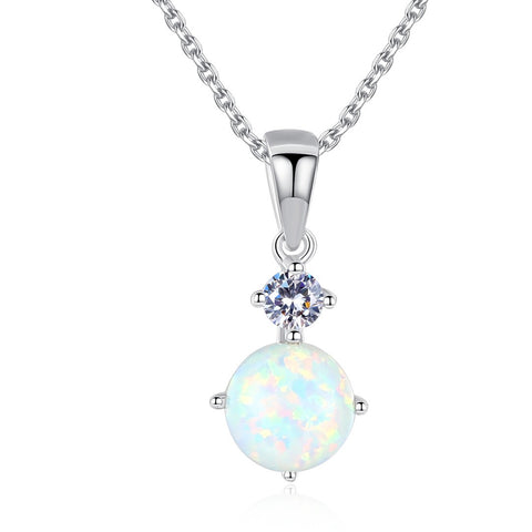 Round Opal cubic Zircon Pendant Sterling Silver Necklace for women