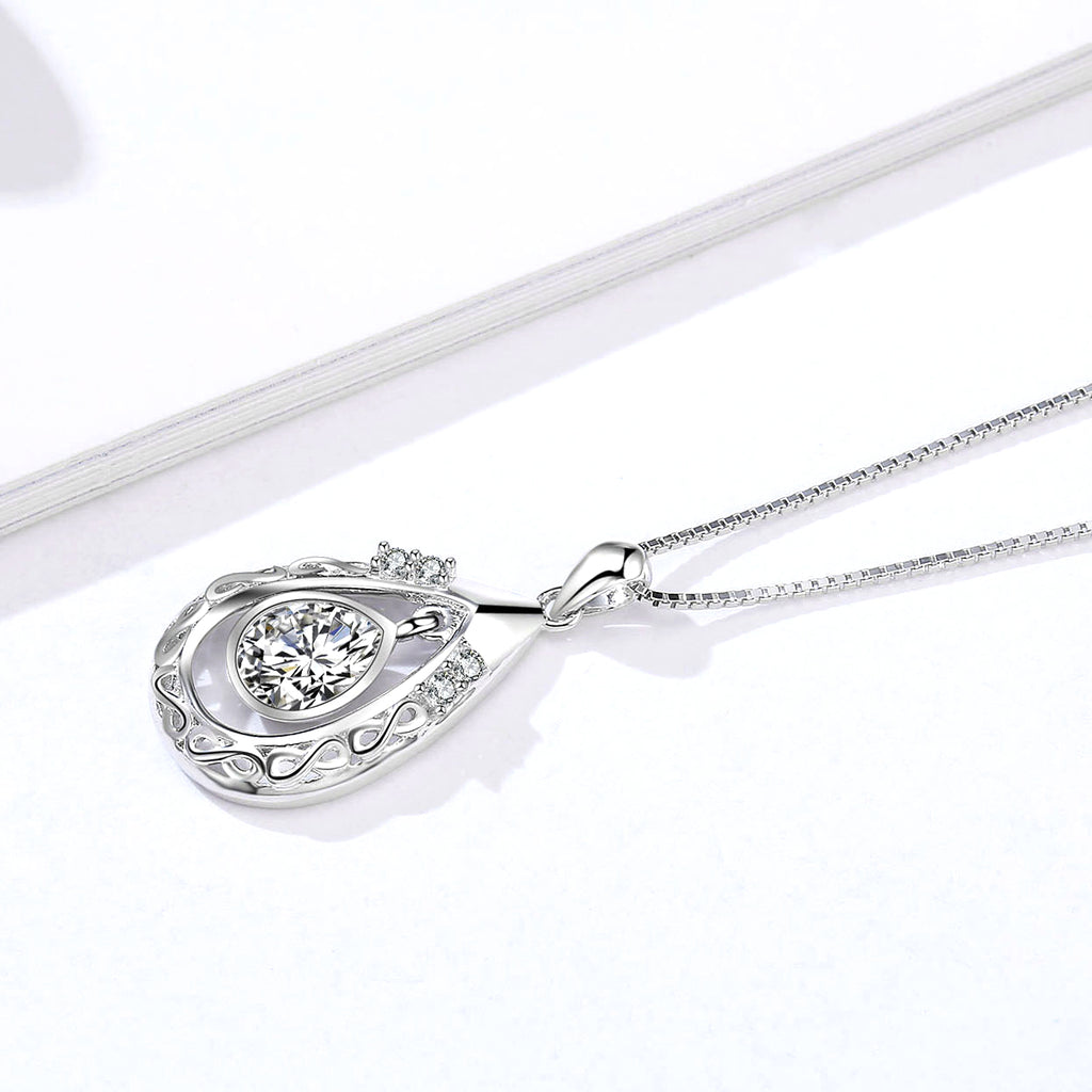 Water-Drop Infinity Necklace with 18 Inch Chain Silver Necklace Wholesale