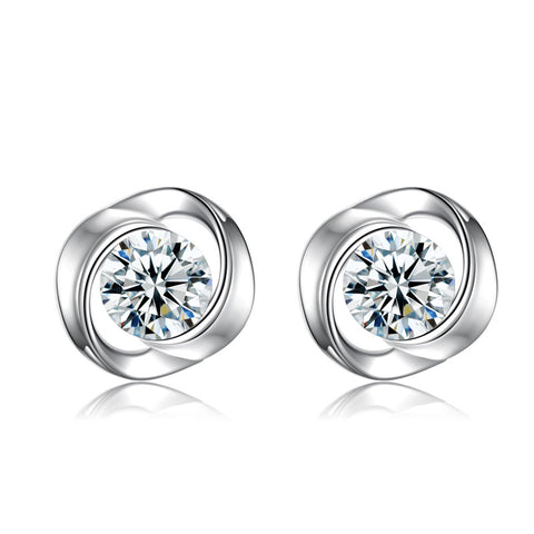 Rotating Love Rose Studded Zircon 925 Sterling Silver Stud Earrings Simple Earrings Jewelry