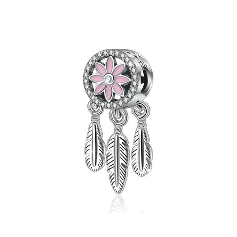 Flower Dream Catcher Zircon Beads Charms S925 Sterling Silver Beaded Bracelet Accessories
