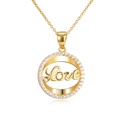 18K Gold Hollow Love Letter Zircon Pendant Necklace Simple Fashion Clavicle Chain
