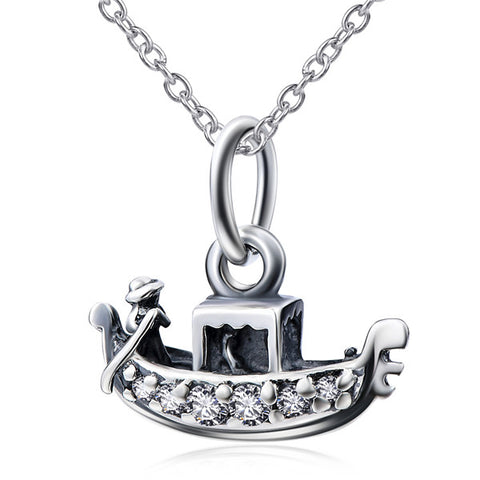 Ladies Sailboat Jewelry Necklace Silver Wholesale Zirconia Necklace