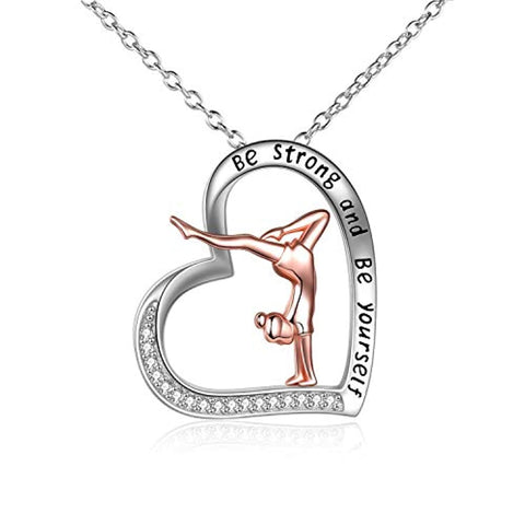 Gymnastics Gifts for Girls Sterling Silver Gymnastics Heart-Shaped Pendant Necklace for Women