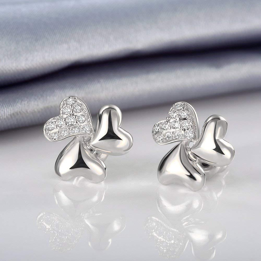 S925 Sterling Silver Korean Fashion Personality Micro-Set Clover Earrings Jewelry Cross-Border Exclusive