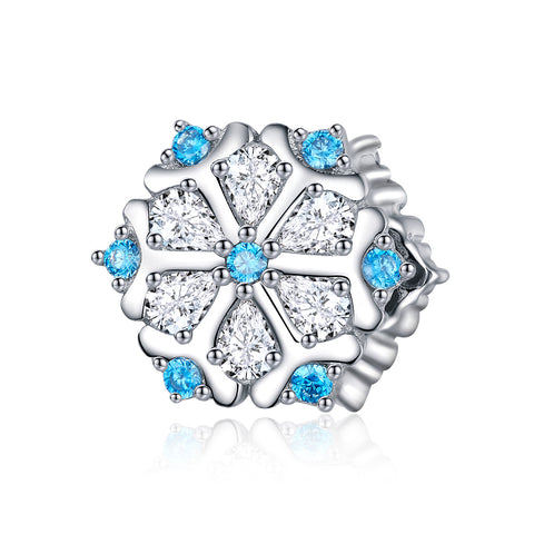 silver white gold plated zirconia snowflake charms