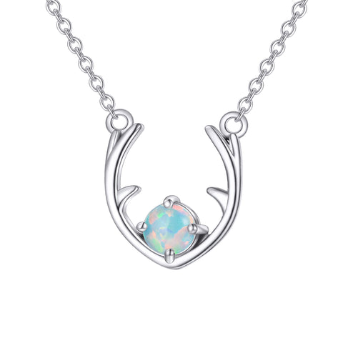 Opal Christmas Jewelry Elk's Horn Opal Necklace 925 Sterling Silver Jewelry