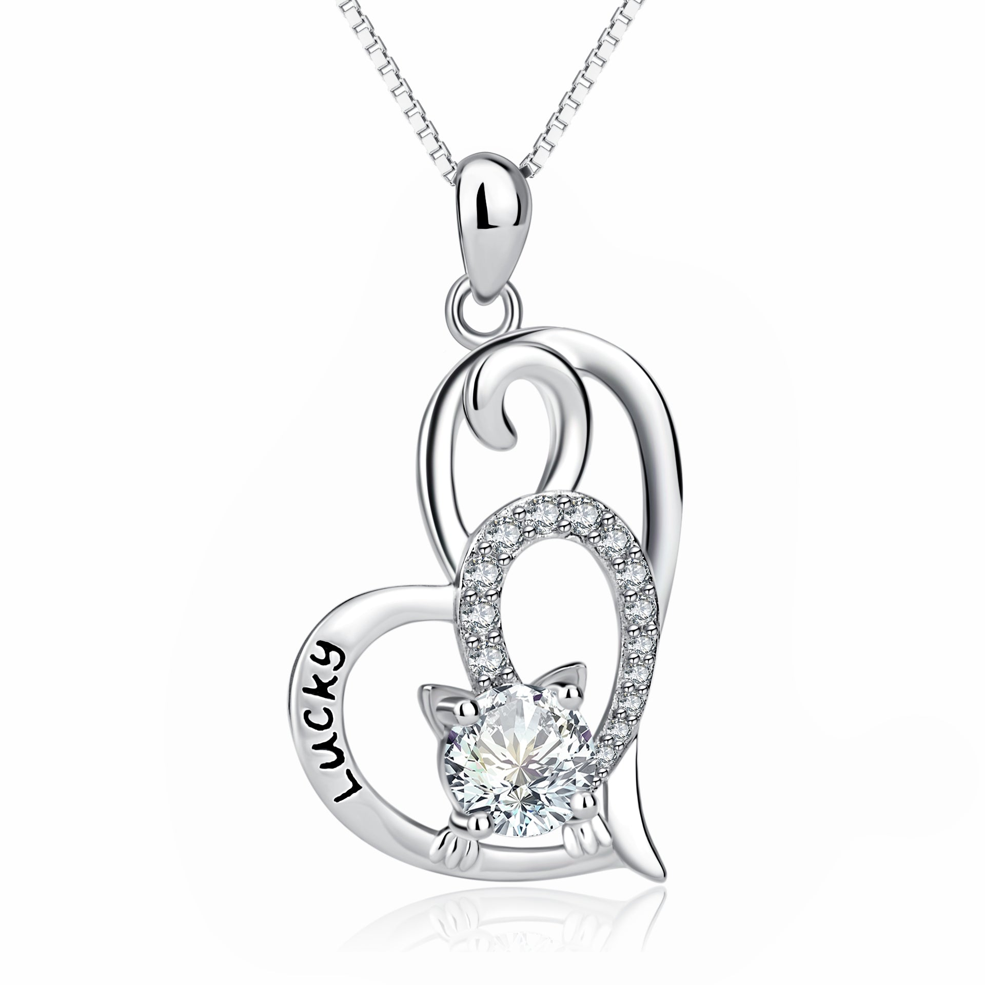 Good Luck Necklace Heart Shape Beautiful Crystal Silver Necklace Jewelry