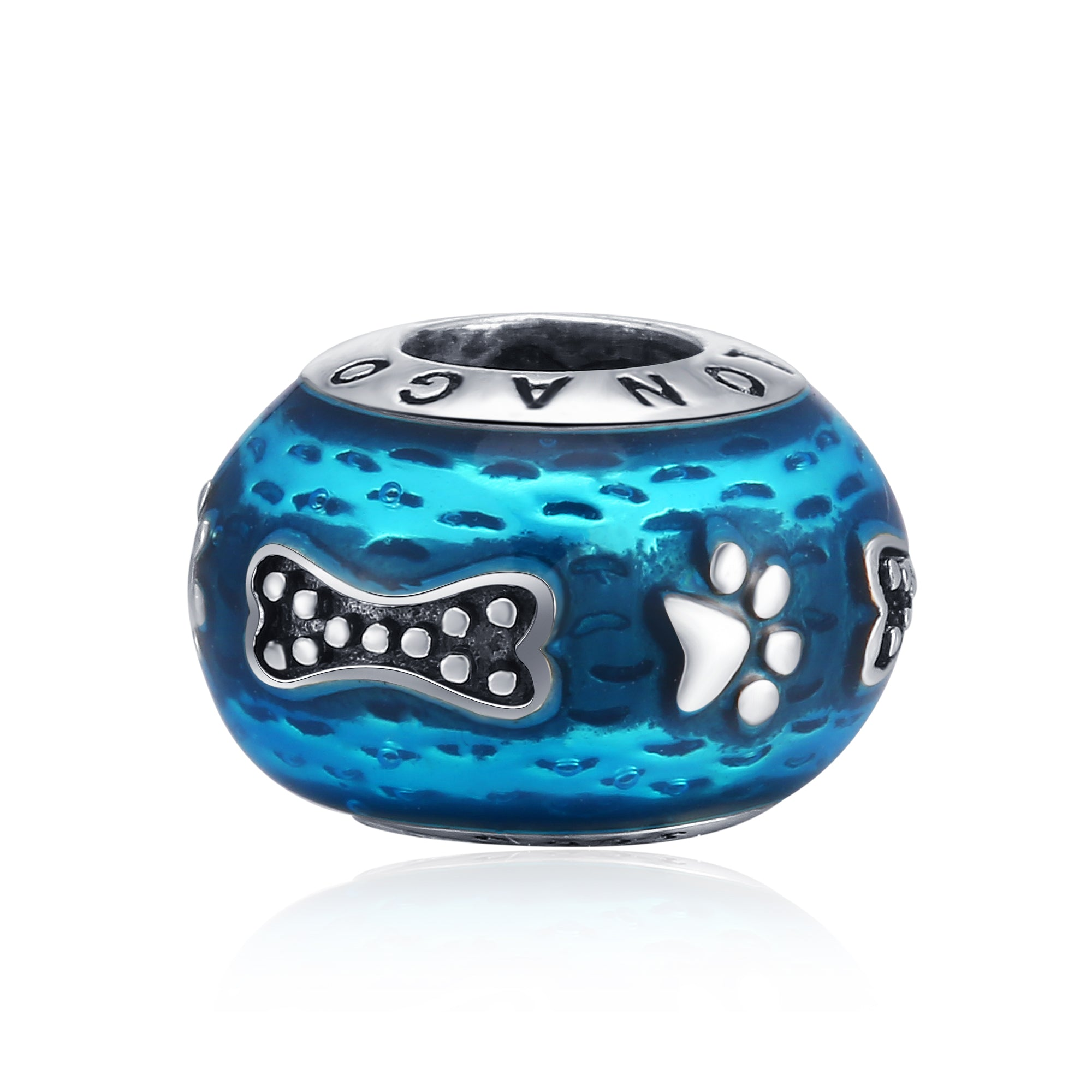 Customized Women Animal Series Blue Color Puppy And Cat Paw Bone Beads
