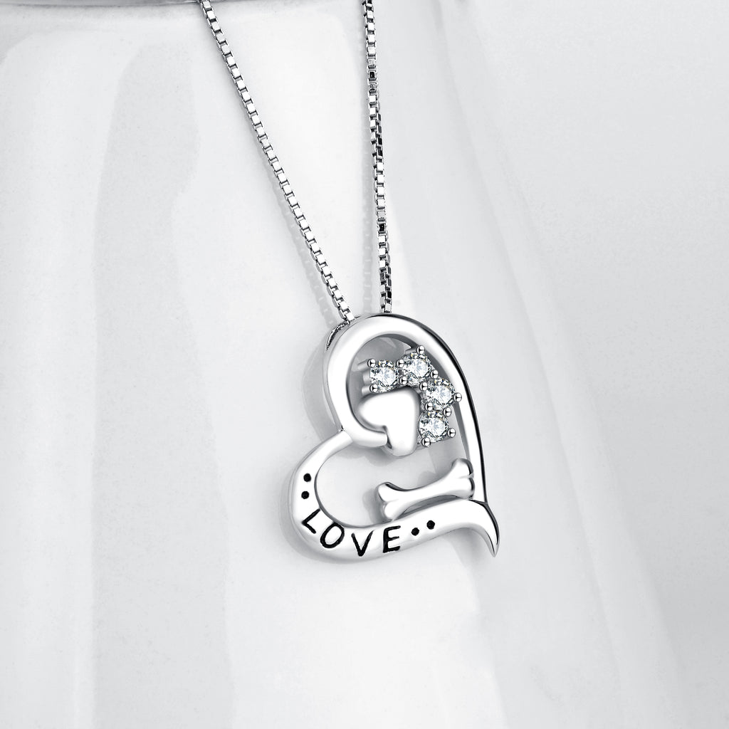 New Novelty Necklace Jewelry Heart Charm with Cute Dog Puppy Footprints Necklace