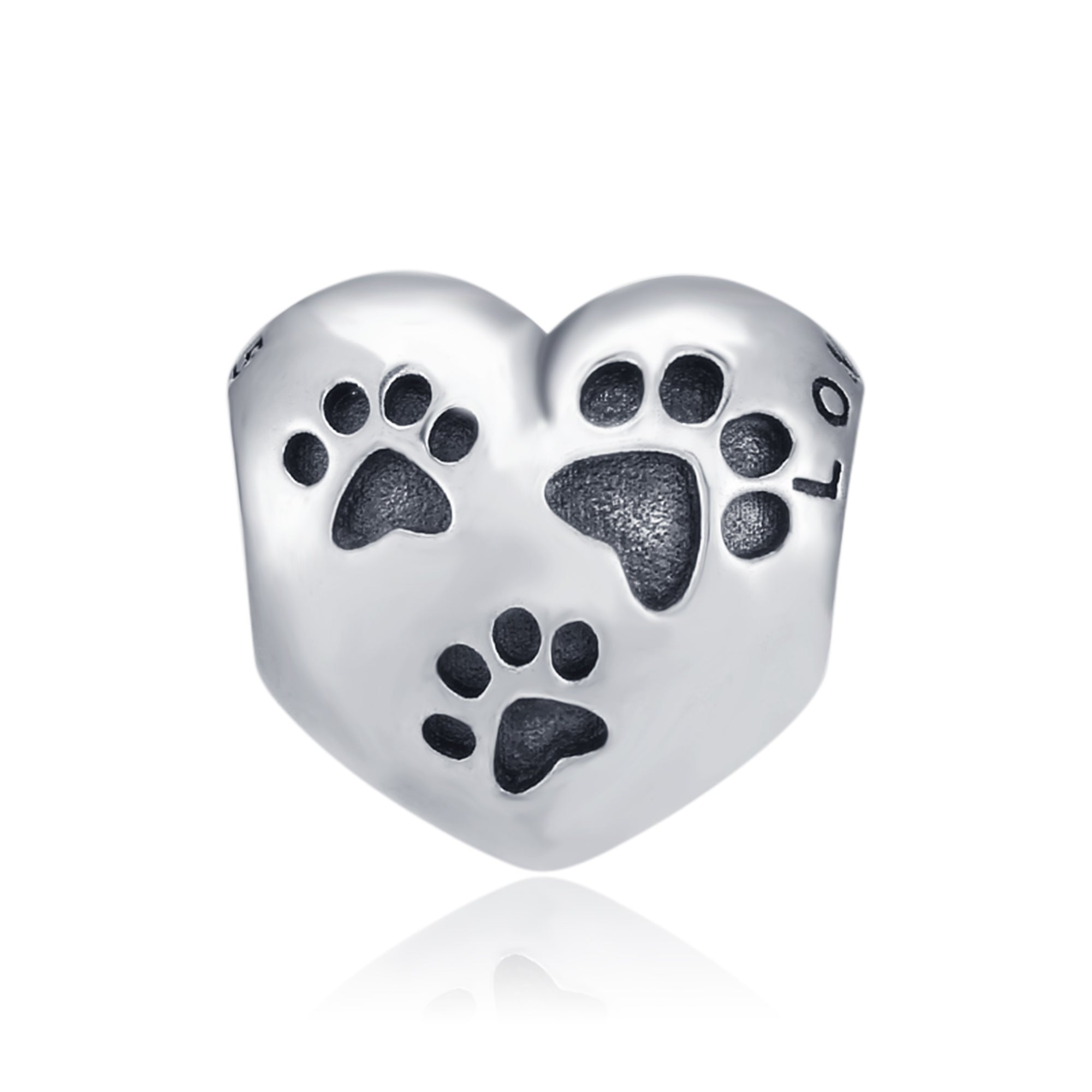 Heart Loving Shipping Bracelet Beads Silver 925 Sterling Puppy /Cat Paw Beads
