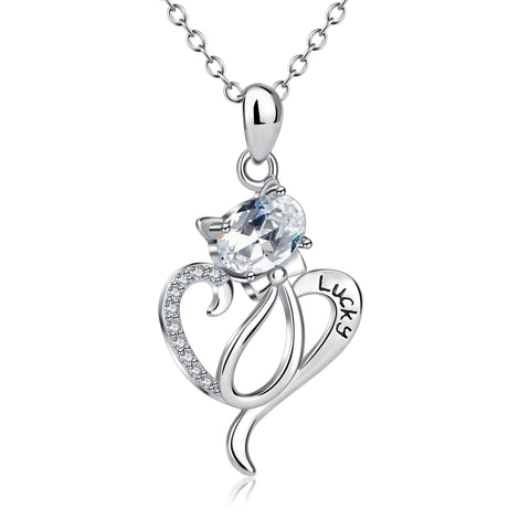 Wholesales Cat Necklace Love Silver Long Necklace Women Jewelry Heart Necklace