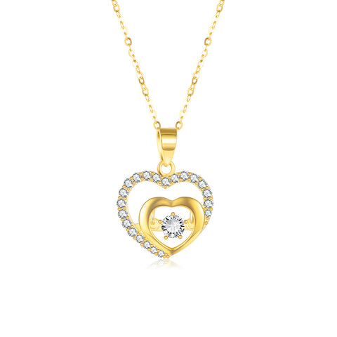 18K Gold European And American New Double Heart Type Zircon Necklace