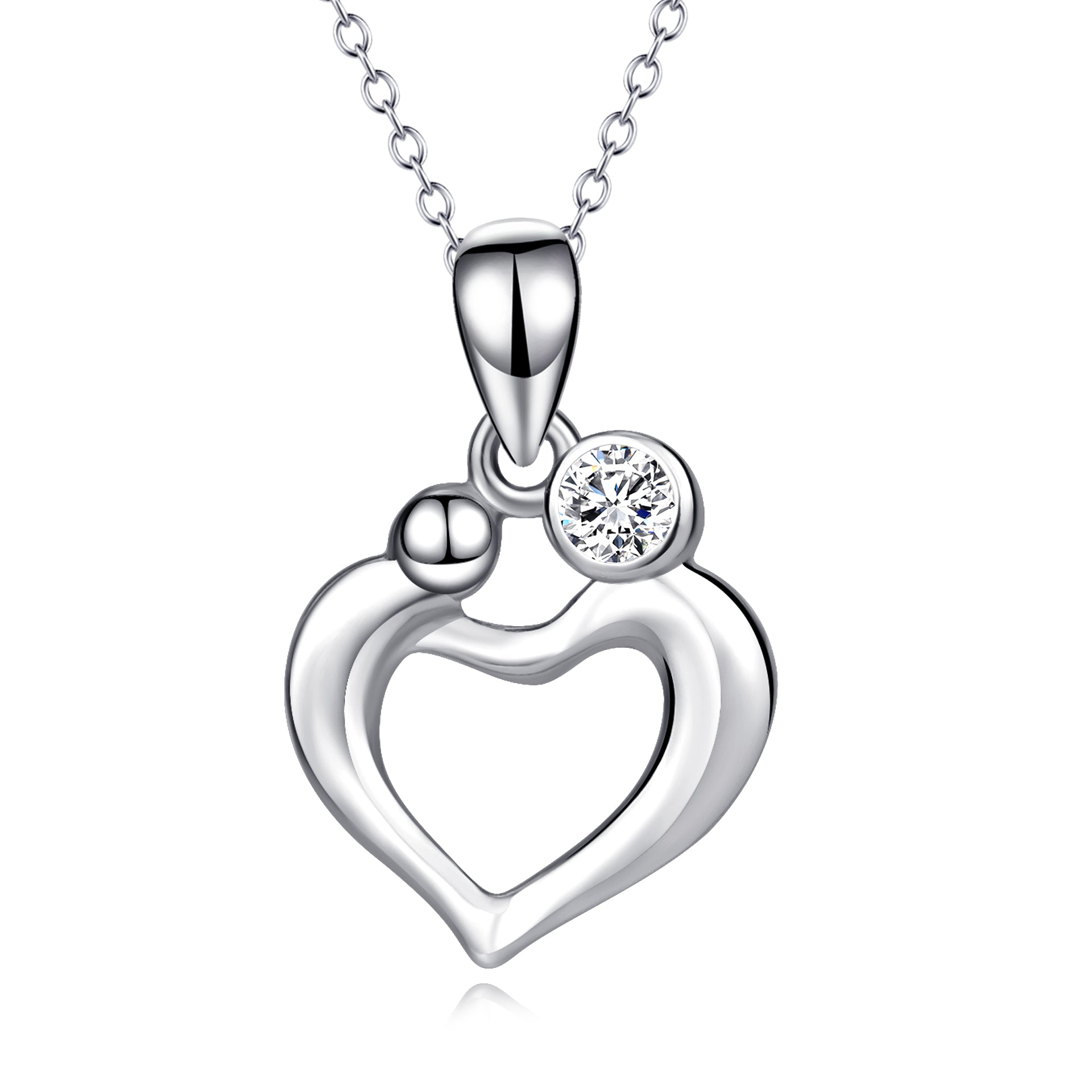 Mom and Kid Hug Necklace Heart Shape Loving Silver Necklace