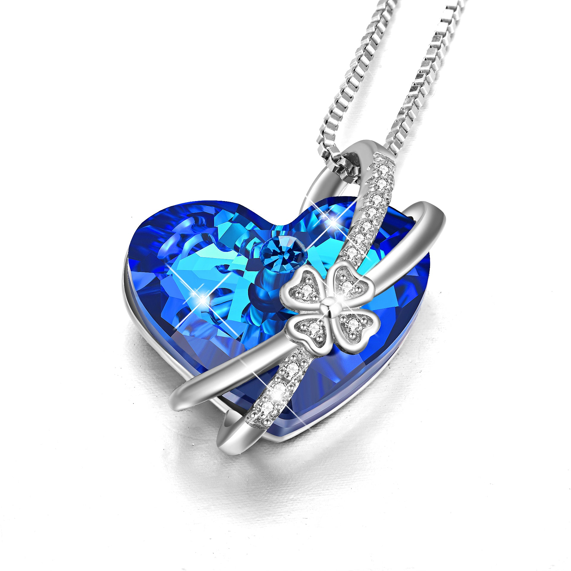 Flower Necklace Bow knot Zirconia Heart Shape Gemstone Necklace