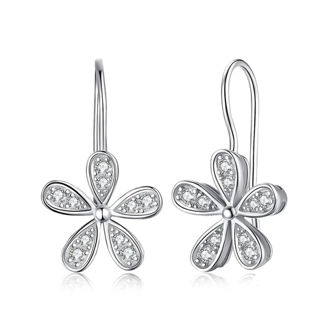 Daisy Flower Cubic Zirconia CZ Dangle Drop Earrings