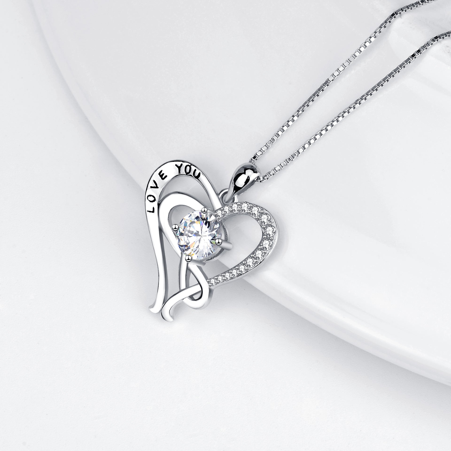 CZ Heart Zirconia Necklace Design I Love You Engraved Silver Necklace