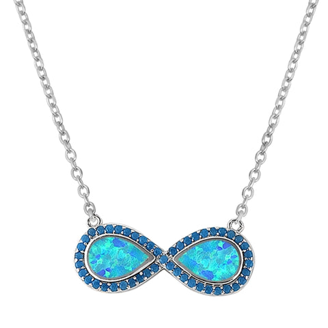 Blue Lab Opal Infinity Pendant Necklace