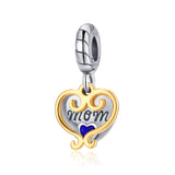 Gold Plating Heart Hollow Engraved Silver Jewelry Blue Cubic Zirconia Beads