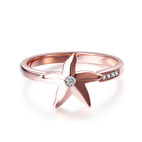925 Sterling Silver Jewelry Lovely Rose Gold Plating Starfish Ring Design