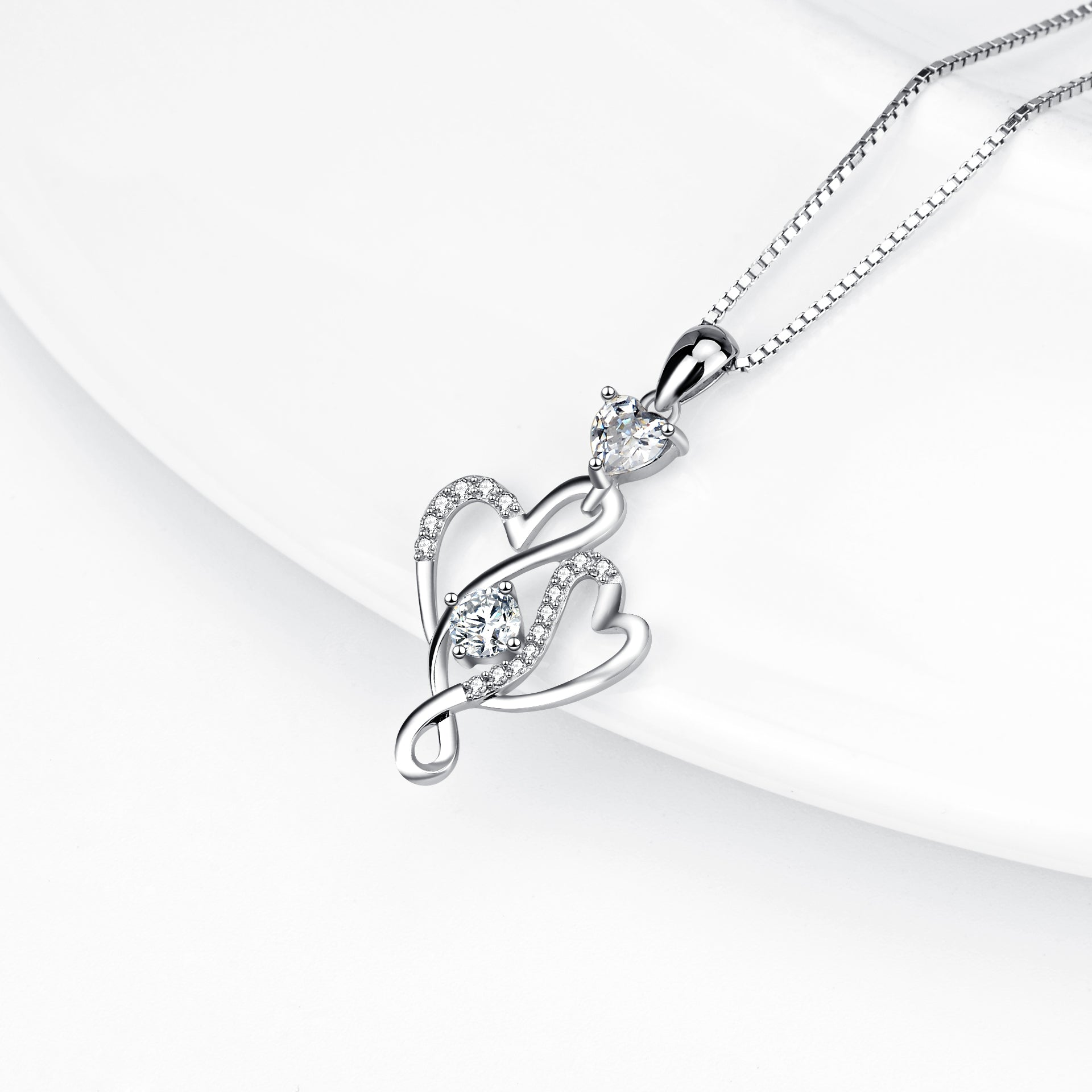 Zirconia micro paved necklace s925 sterling silver sweet hollow heart pendant
