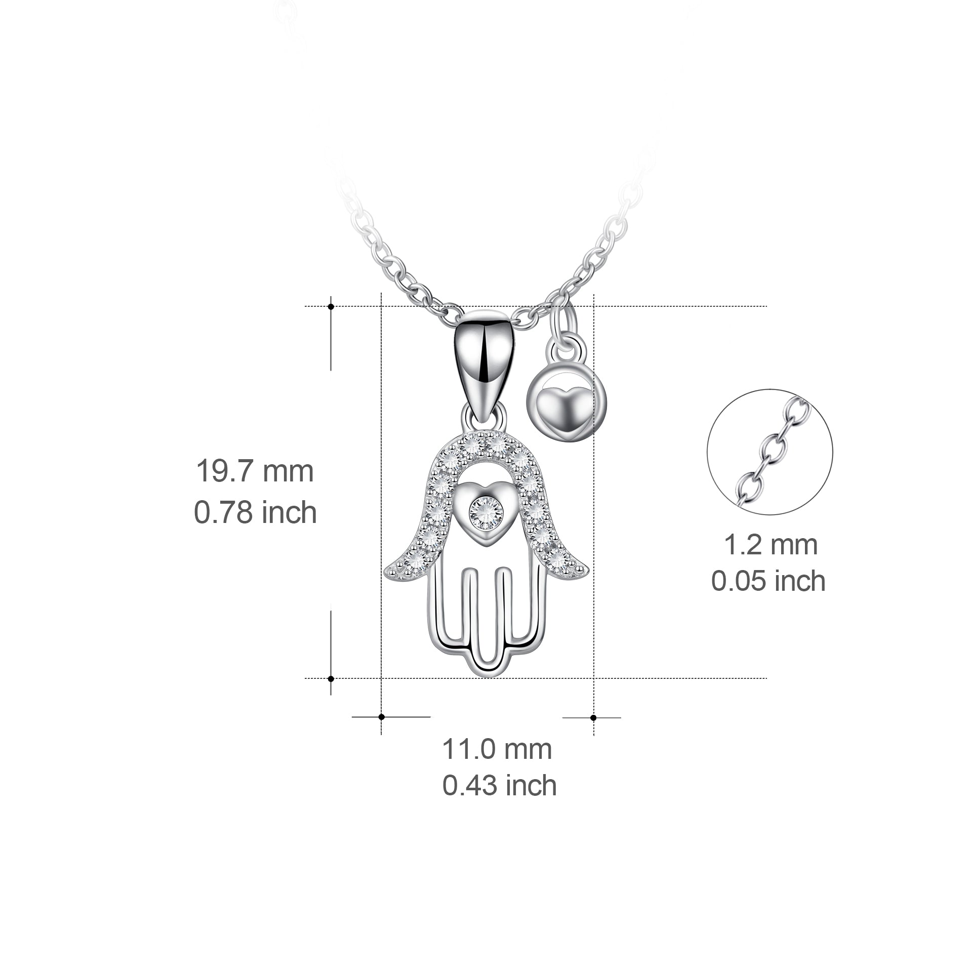 Hamsa Hand Necklace Praying Hands Necklace Hip Hop Jewelry Rhodium Plated