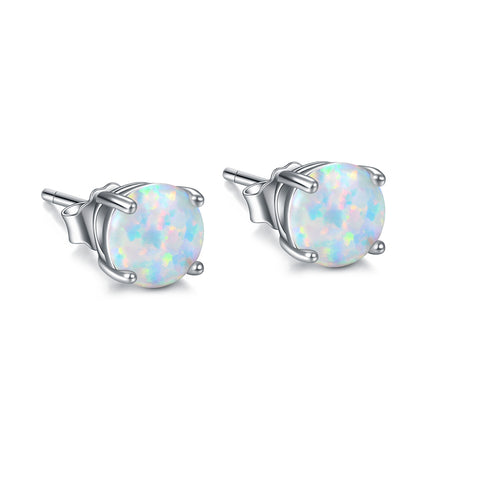 925 Sterling Silver Real Opal Jewelry Earring Stud Simple Design for Woman