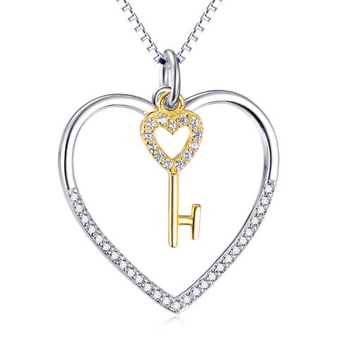 The Key To The Heart Cubic Zirconia 925 Silver Sterling Necklace