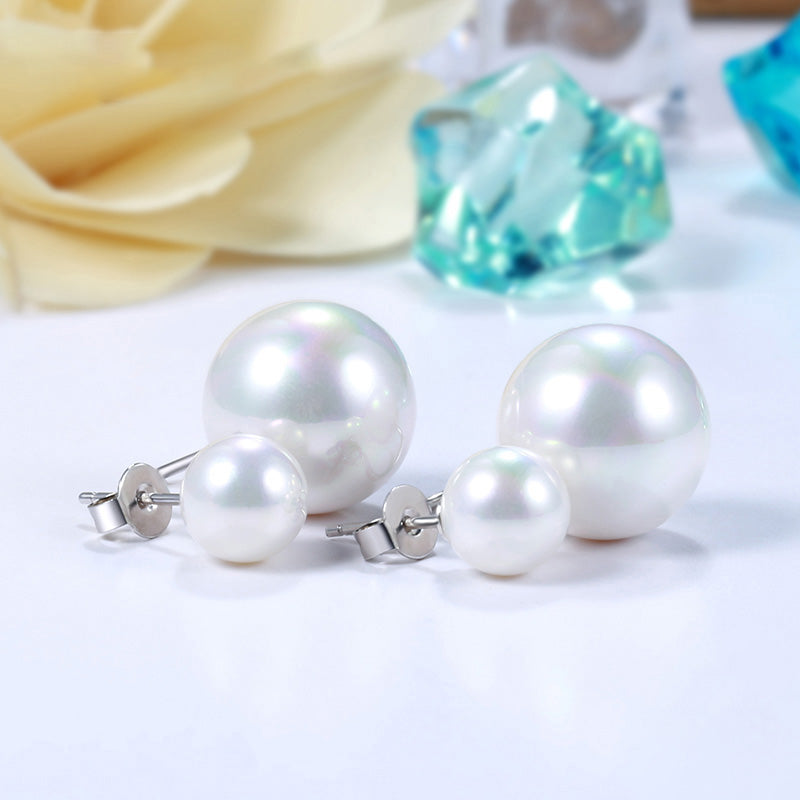 925 sterling silver earrings authentic high quality shell pearl stud earrings fashion jewelry making for women gifts