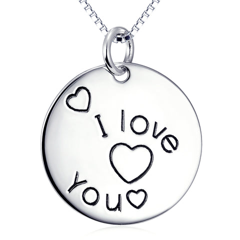 I Love You Necklace 925 Sterling Silver Jewelry For Woman And Man Gifts