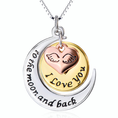 I Love You ToThe Moon And  Back Necklace Wholesale 925 Sterling Silver Necklace