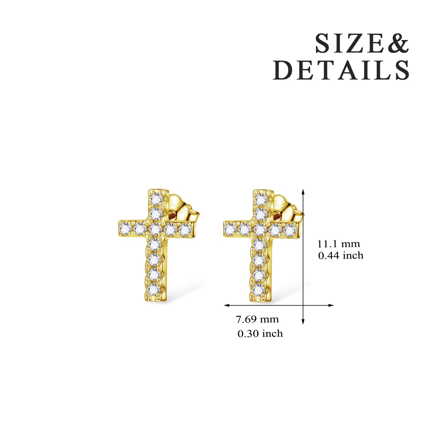 Factory Wholesale Cross Stud Designs Colorful 925 Sterling Silver Earrings
