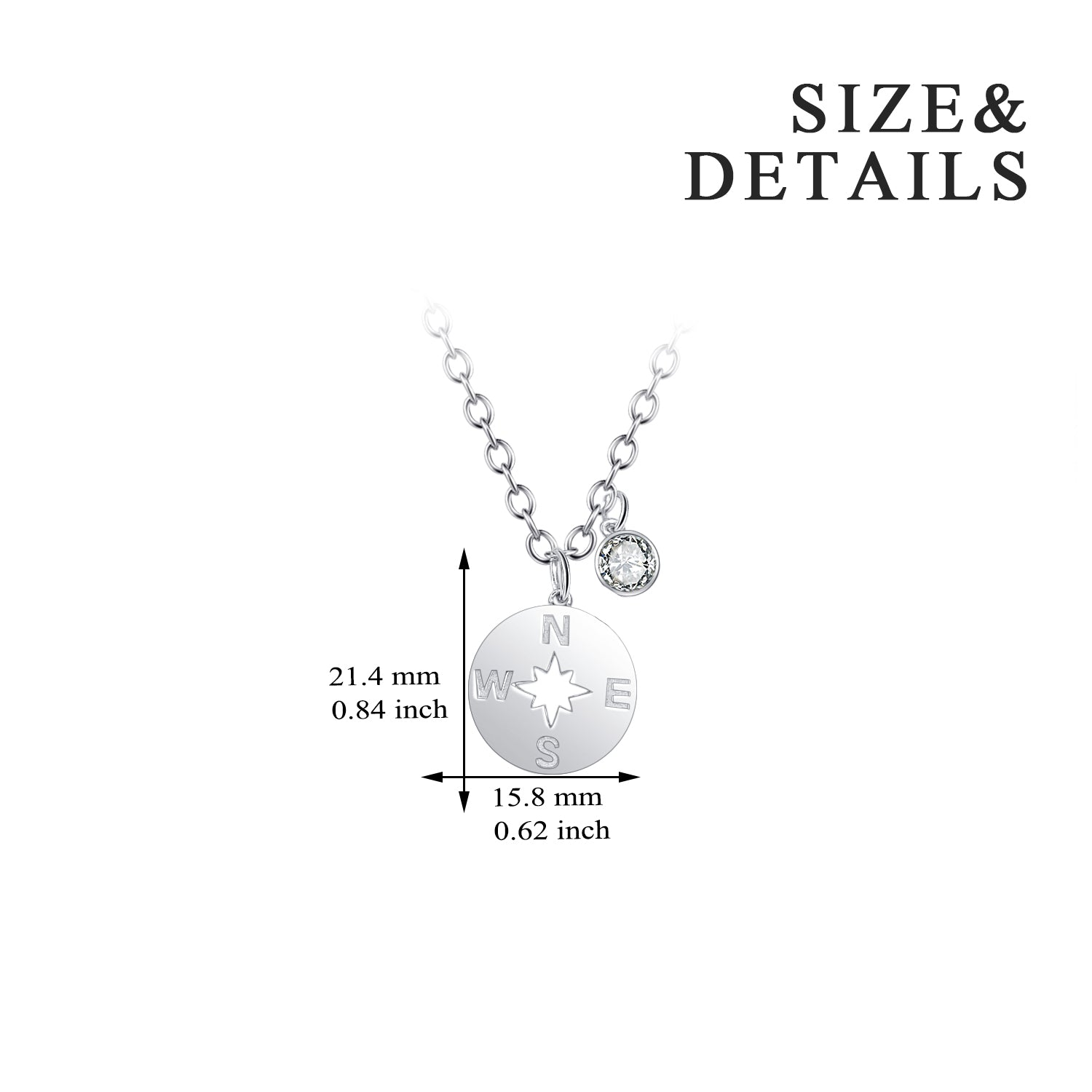 Rhodium Plating Fashion Jewelry, 925 Silver Jewelry, Round Disc Pendant Necklace