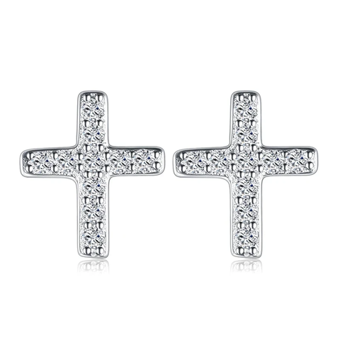 Cross Cubic Zirconia Stud Earrings