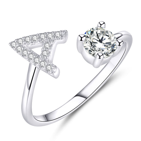 letter A cubic zirconia ring