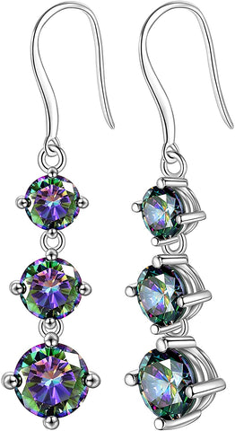 Mysitc Rainbow Topaz Jewelry Women 925 Sterling Silver Rainbow Topaz Earring Girls Dating Gift