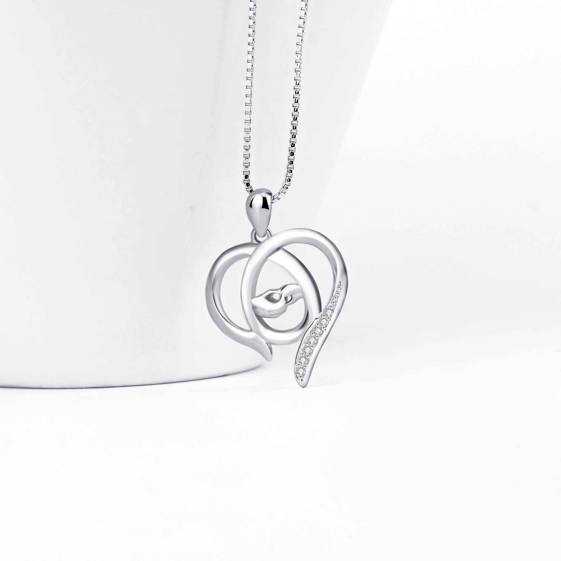 Large Heart Pendant Silver Necklace Wholesale Girlfriend Loving Hearts Necklace Fashion