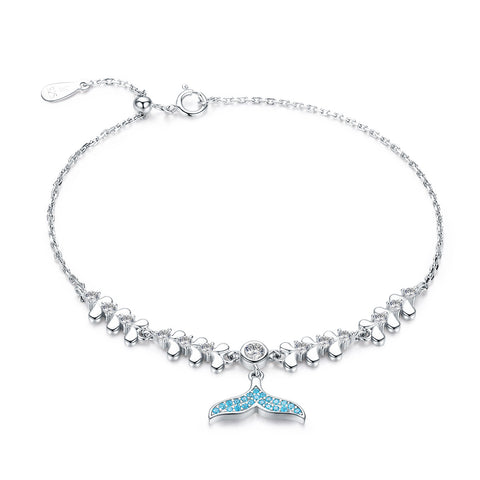 Silver White Gold Plated Zircon Mermaid Bracelet