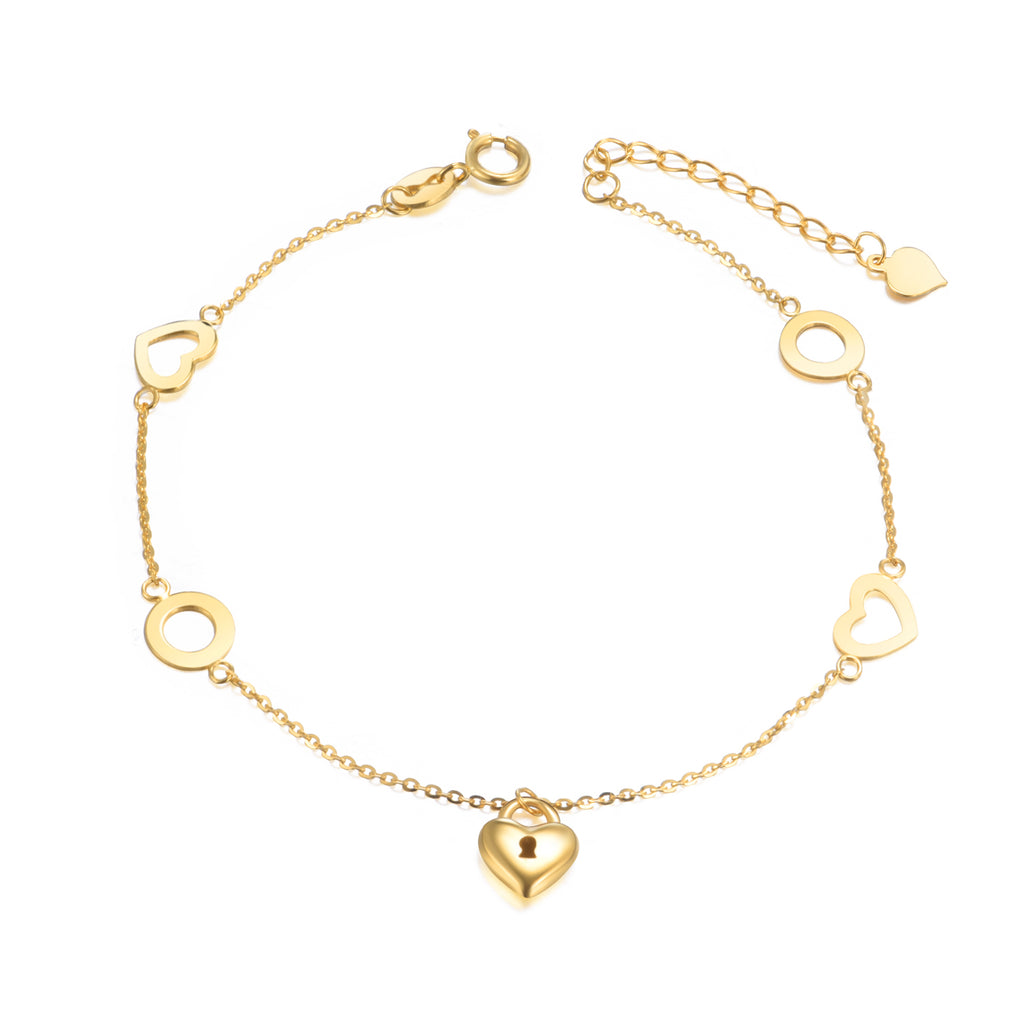 18K Gold Fashion Exquisite Bracelet Love Lock Bracelet Temperament Elegant Ladies Jewelry