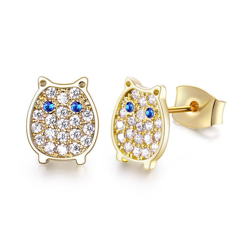 S925 Sterling Silver Owl Cubic Zirconia Stud Earrings Crystal Jewellery