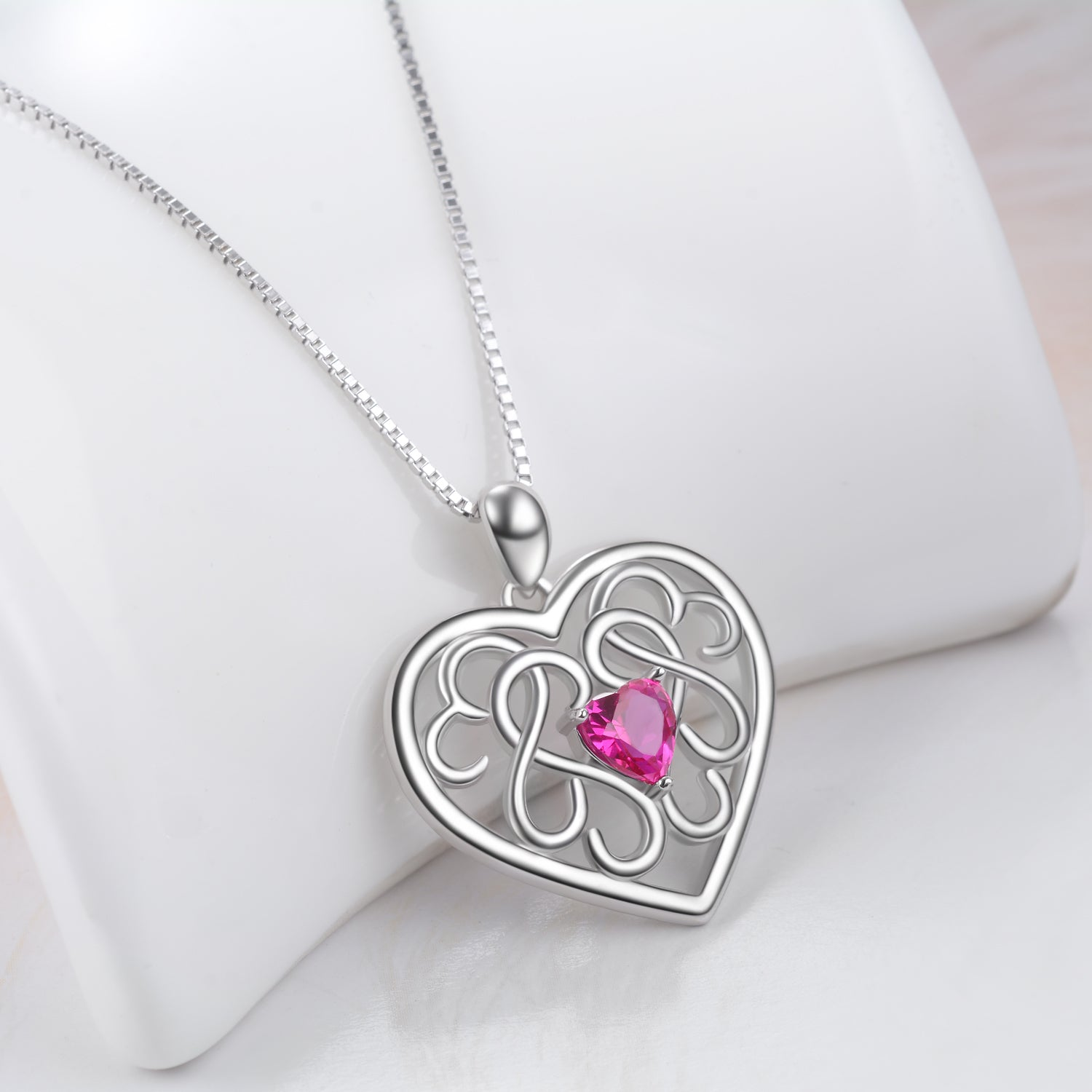 Filigree Love Heart Necklaces Cubic Zirconia Hollow Loving Necklace