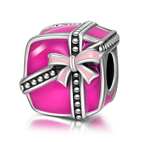 Gift Box Jewelry Beads Silver Enamel Pink Color Wholesale Beads